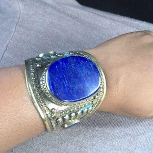 Aztec large blue stone adjustable cuff bracelet